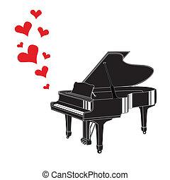 coração, piano, amor, música