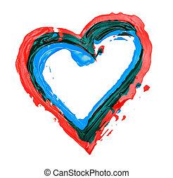 coração, pintado, esboço