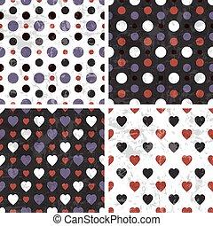 coração, poka, seamless, padrões, vetorial, telha, ponto