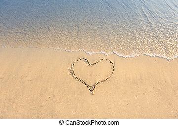 coração, praia areia, desenhado