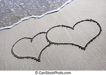 coração, praia areia, esboço, onda