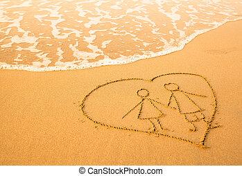 coração, praia, dentro, onda, forma, sea., mar, par, macio