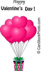 coração, presente, dado forma, balloons., hélio, vermelho, grupo