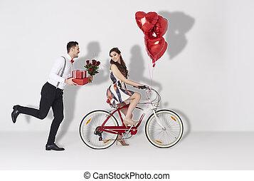 coração, presente, dado forma, par, balloon, feliz