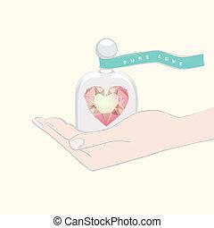 coração, presente dando, cúpula, mão, vidro, sob