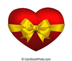 coração, presente, isolado, amarela, arco, experiência vermelha, fita branca