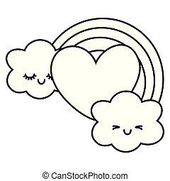 coração, pretas, nuvens, branca, arco íris