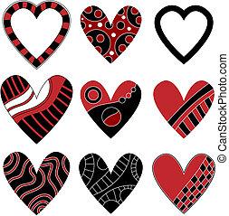 coração preto, cobrança, vermelho