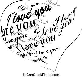 """coração preto, feito, de, """"i, amor, you"""", frase"""