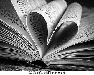 coração preto, livro, branca, amor