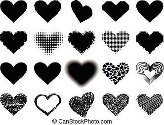 coração preto, vetorial, ícone