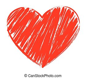coração, quadro, isolado, forma, vetorial, escova, fundo, branca, quadro