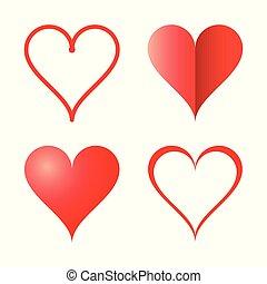 coração, quadro, isolado, forma, vetorial, fundo, branca