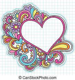 coração, quadro, vetorial, doodles, caderno
