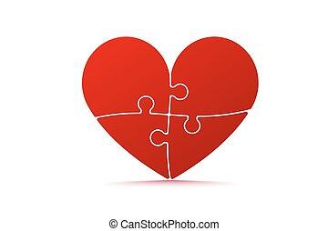 coração, quebra-cabeça, coloridos, dado forma
