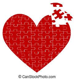 coração, quebra-cabeça, jigsaw