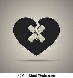 coração quebrado, ícone, remendos, dois