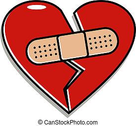 coração quebrado, com, band-aid
