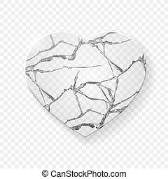 coração quebrado, feito, vidro