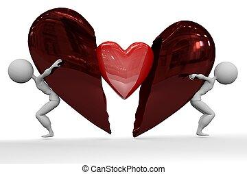 coração quebrado, ver, lata, tu, meu
