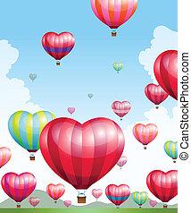 coração, quentes, dado forma, balões, ar