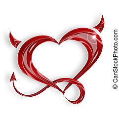 coração, rabo, fundo, chifres, branco vermelho