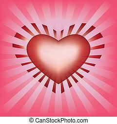 coração, raios, fundo, valentines