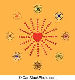 coração, raios, semelhante, sol