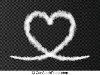 coração, rastro, isolado, experiência., avião, fumaça,...
