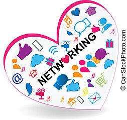 coração, rede, negócio, logotipo