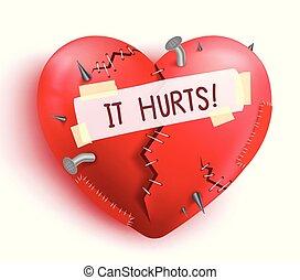 coração, remendos, cor, quebrada, ferido, vermelho, pontos