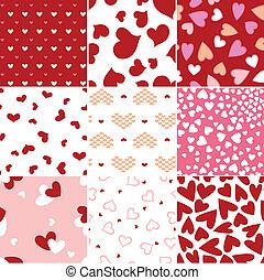 coração, repetido, amor, padrão