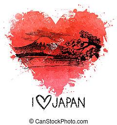 coração, respingo, ilustração, aquarela, esboço, mão, desenhado, japoneses
