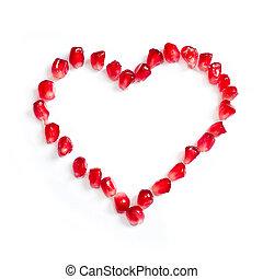 coração, romã, sementes, forma