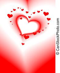 coração, romanticos, cartão, vetorial, valentine\'s, dia