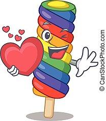 coração, romanticos, quadro, arco íris, sorvete, caricatura, segurando
