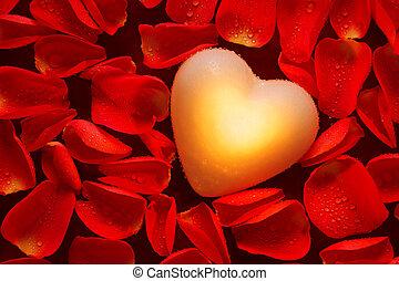 coração, rosa, amongst, pétalas, glowing, vermelho