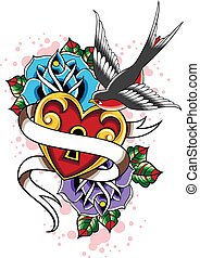 coração, rosa, andorinha, tatuagem