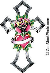coração, rosa, crucifixos, fita, sinal