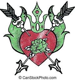 coração, rosa, tatuagem