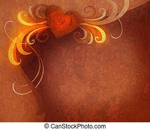 coração, rosa, textured, enferrujado, escuro, flourishes, vindima, vermelho
