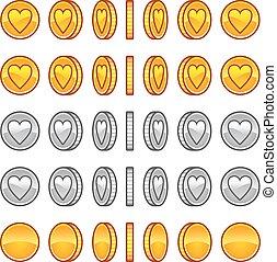 coração, rotação, moedas, animação, sprites