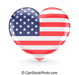 coração, símbolo, americano, flag.
