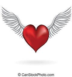 coração, símbolo, amor, asa, vermelho