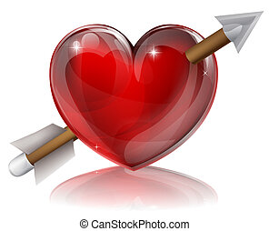 coração, símbolo, amor, seta
