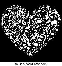 coração, símbolo, coleção música, ícone