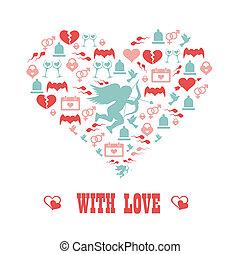 coração, símbolo, conceito, love., romanticos