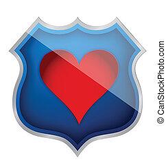 coração, símbolo, escudo, ilustração, ícone