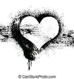 coração, símbolo, grunge, desenho