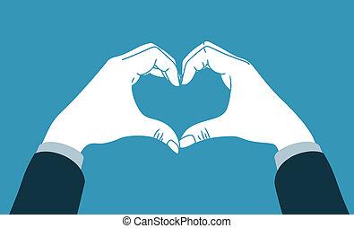 coração, símbolo, mão, fazer